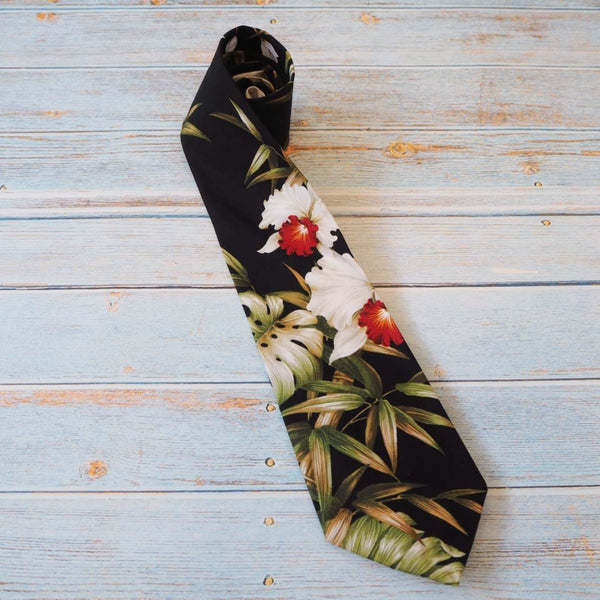 Black Orchid Fun Hawaiian Necktie - Necktie