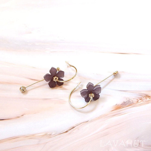 Blooming Lilac Dangle Hoop Earrings - Earrings