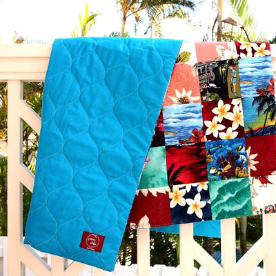 Blue Hawaiian Patchwork Throw - Blue - Quilt