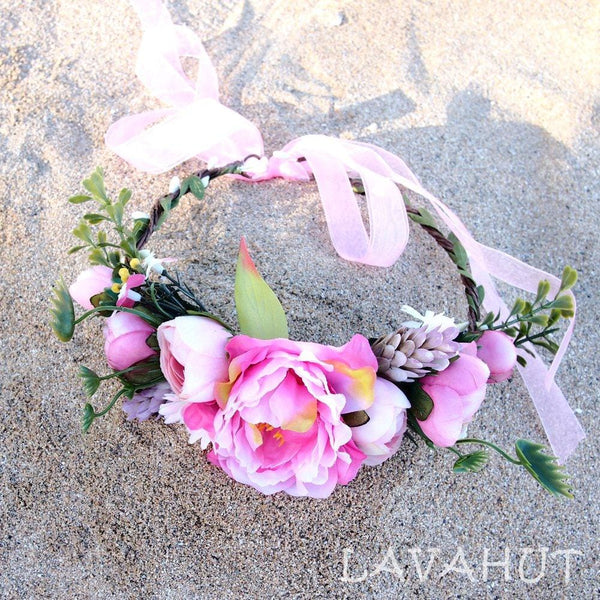 Bohemian Pink Flower Crown - Hair Accessories