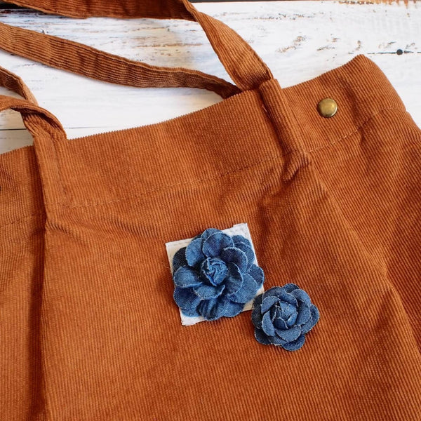 Brown Maile Denim Floral Corduroy Tote Bag - Hawaiian Bags