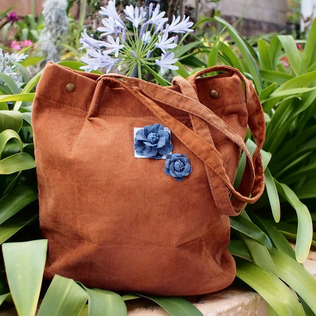 Brown Maile Denim Floral Corduroy Tote Bag - Brown - Hawaiian Bags