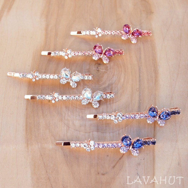 Butterfly Sparkly Hair Pin Set - Hair Accessories
