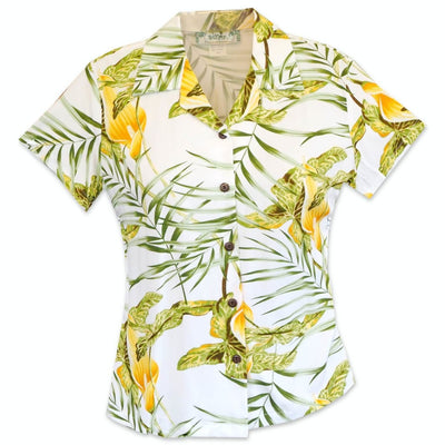 Calla Lily White Lady's Hawaiian Rayon Blouse - s / White - Women's Blouses