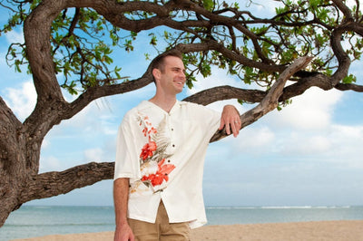 Cattleya Cream Hawaiian Rayon Shirt - Mens Shirts