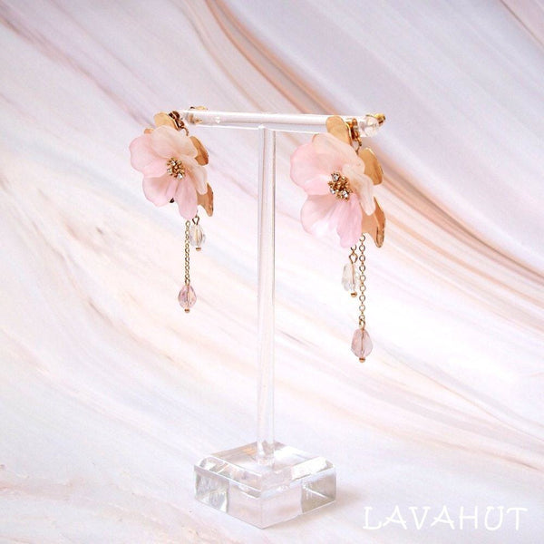 Chandelier Pink Crystal Earrings - Earrings