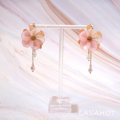 Chandelier Pink Crystal Earrings - Pink - Earrings