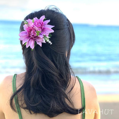 Chrysanthemum Purple Hawaiian Flower Hair Clip - Purple - Hair Accessories