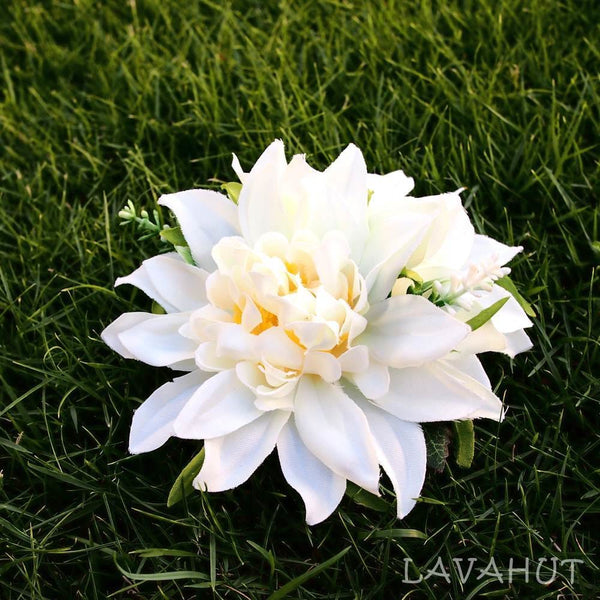 Chrysanthemum White Hawaiian Flower Hair Clip - Hair Accessories