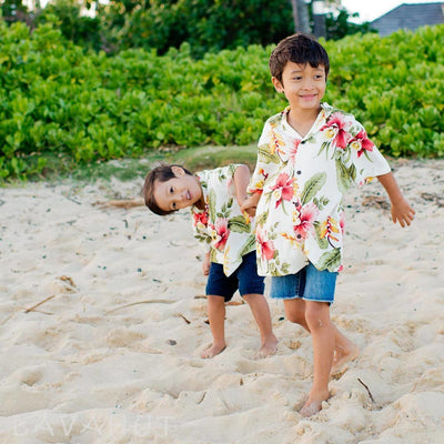 Cloud Cream Hawaiian Boy Shirt - Boy's Hawaiian Shirts