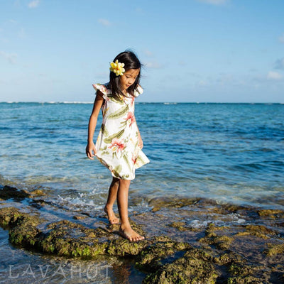 Cloud Cream Hawaiian Girl Rayon Dress - Girl's Hawaiian Dresses