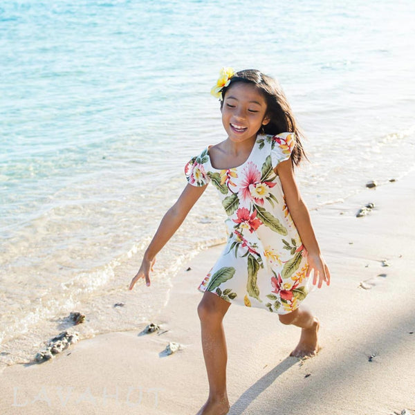 Cloud Cream Hawaiian Girl Rayon Dress - Girls Hawaiian Dresses