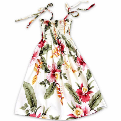 Cloud Cream Sunkiss Hawaiian Girl Dress - S (2 - 4) / Cream - Girls Hawaiian Dresses