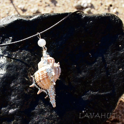 Conch Seashell Hawaiian Pendant Necklace - Cream - Necklaces