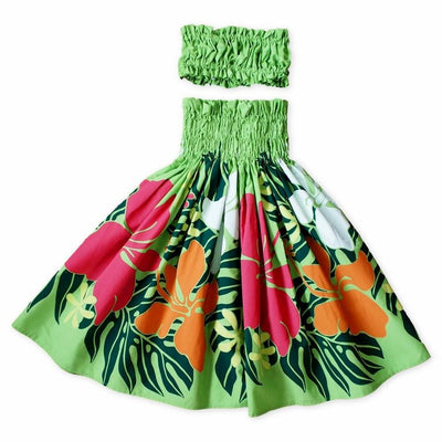 Cutie Green Girl's Pau Hawaiian Hula Skirt Set - Girl's Pau Hula Skirt