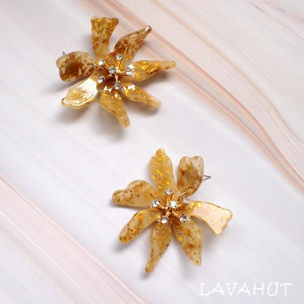Daffodil Confetti Gold Drop Earrings - Earrings