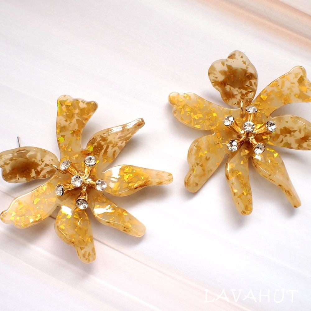 Daffodil Confetti Gold Drop Earrings - Gold - Earrings