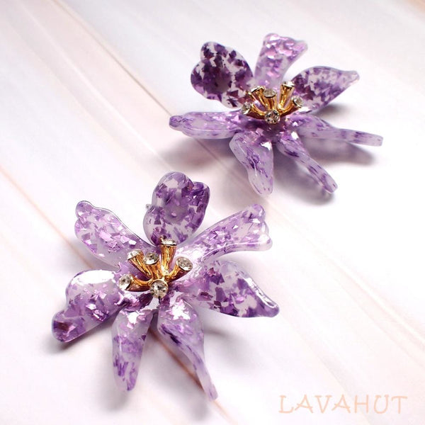 Daffodil Confetti Lilac Drop Earrings - Lilac - Earrings