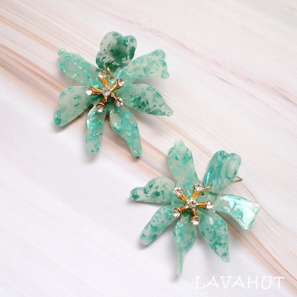 Daffodil Confetti Teal Drop Earrings - Earrings
