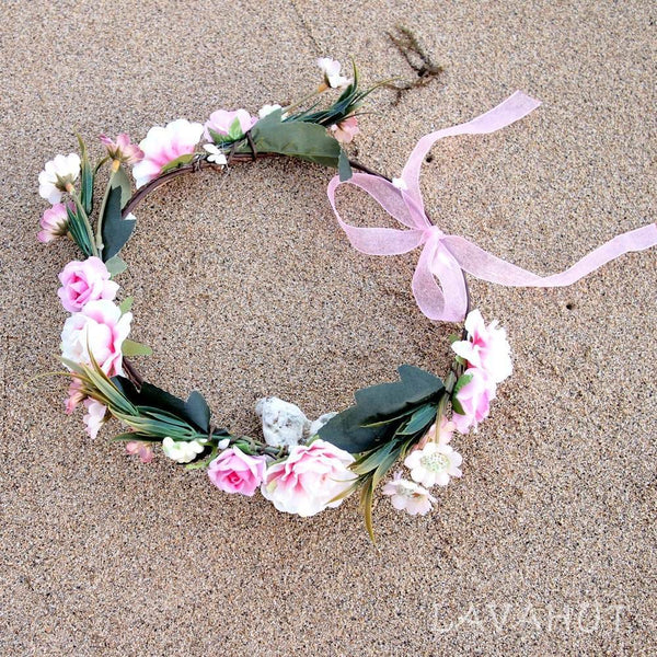 Dainty Pink Flower Crown - Hair Accessories