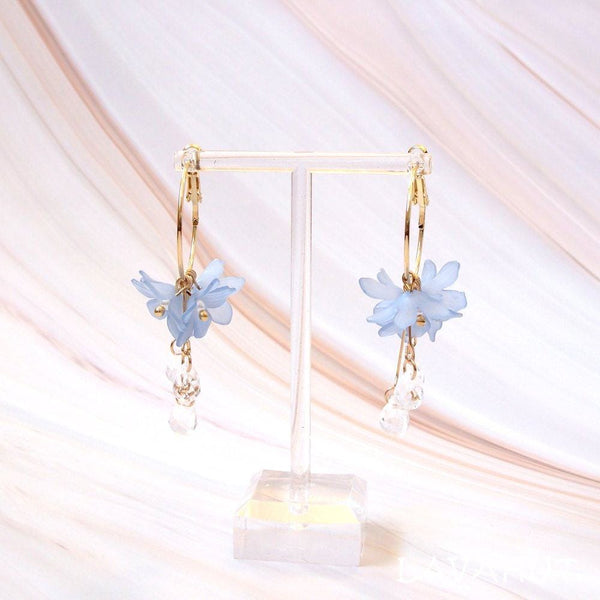 Dew Drop Blue Hoop Earrings - Earrings
