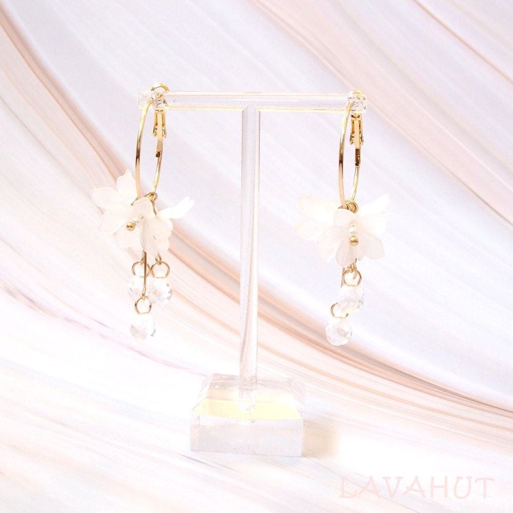 Dew Drop White Hoop Earrings - Earrings