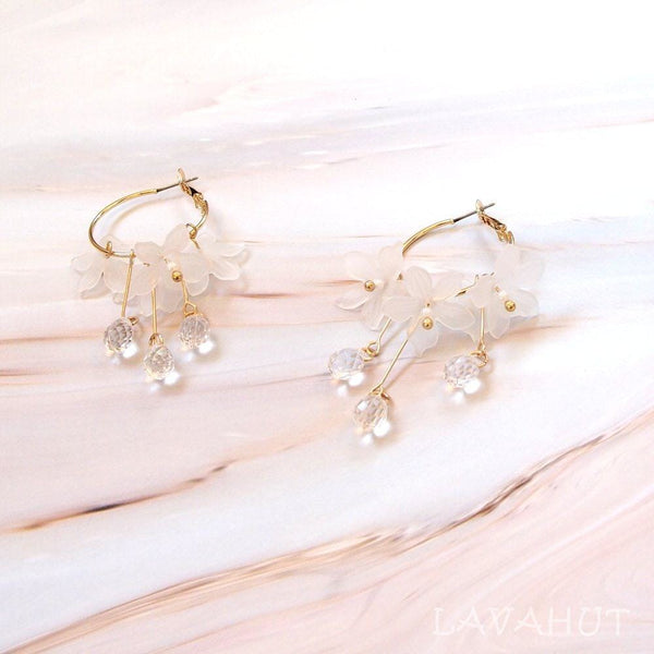 Dew Drop White Hoop Earrings - White - Earrings
