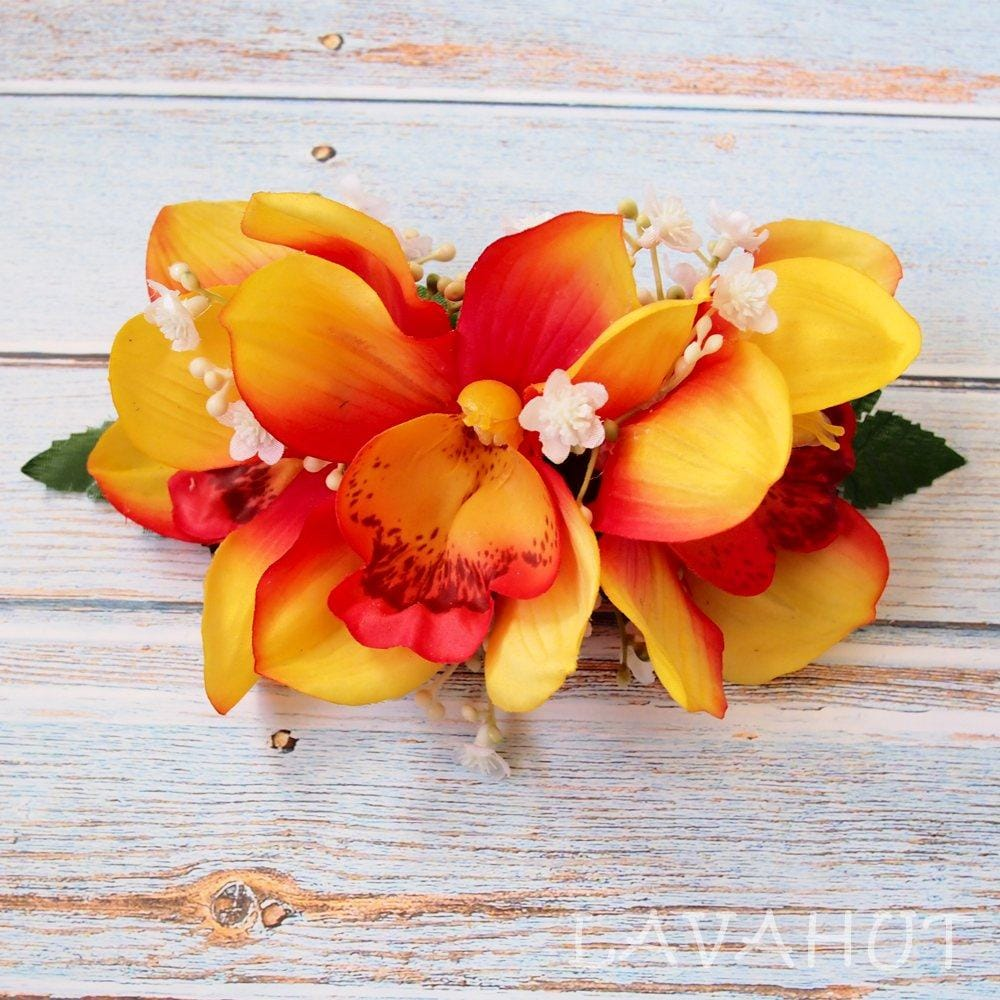 Dreamy Cymbidium Orange Hawaiian Flower Hair Clip - Hair Accessories