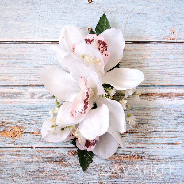 Dreamy Cymbidium White Hawaiian Flower Hair Clip - Hair Accessories