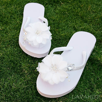 Dreamy White Bridal Flip Flops - Hawaiian Sandals