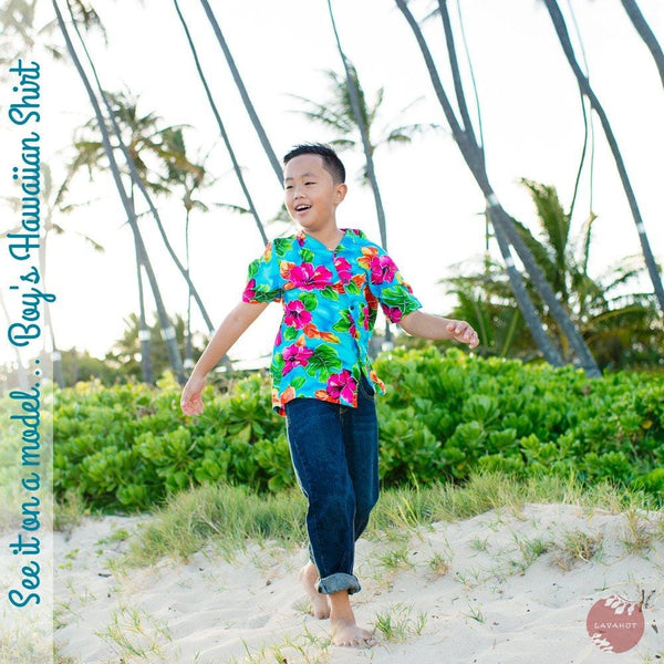 Escape Blue Hawaiian Boy Shirt - Boys Hawaiian Shirts