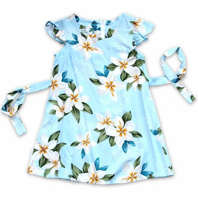 Escape Blue Hawaiian Girl Rayon Dress - 2 / Blue - Girls Hawaiian Dresses