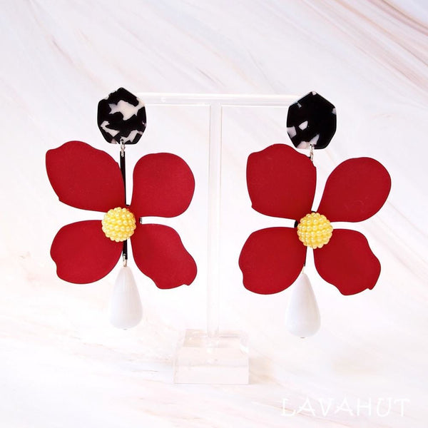 Fiesta Wow Red Statement Earrings - Earrings