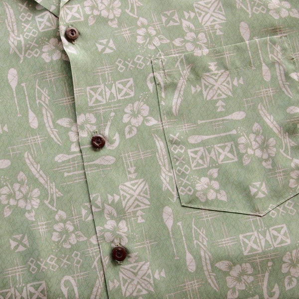 Fish & Paddle Green Hawaiian Rayon Shirt - Mens Shirts