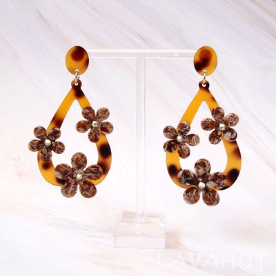 Floral Drop Brown Island Earrings - Brown - Earrings