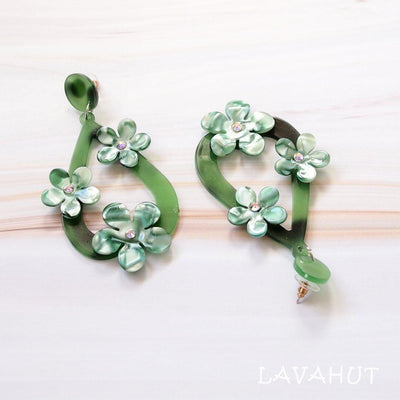 Floral Drop Green Island Earrings - Green - Earrings