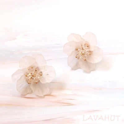 Floral Statement Button Stud Earrings - White - Earrings