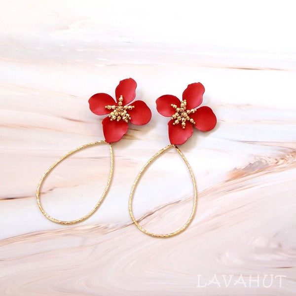 Flower Hoop Red Drop Earrings - Earrings