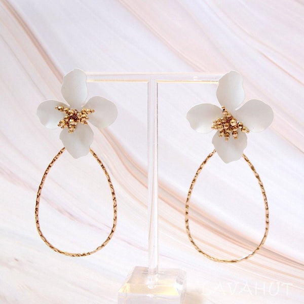 Flower Hoop White Drop Earrings - Earrings
