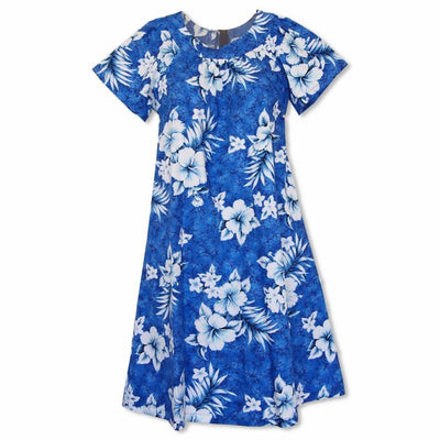 Flower Power Blue Cotton Hawaiian Tea Muumuu Dress - Women's Dress