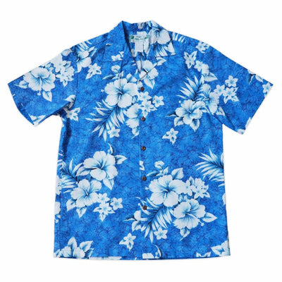 Flower Power Blue Hawaiian Cotton Shirt - s / Blue - Men's Shirts