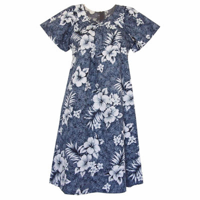 Flower Power Grey Cotton Hawaiian Tea Muumuu Dress - Women's Dress