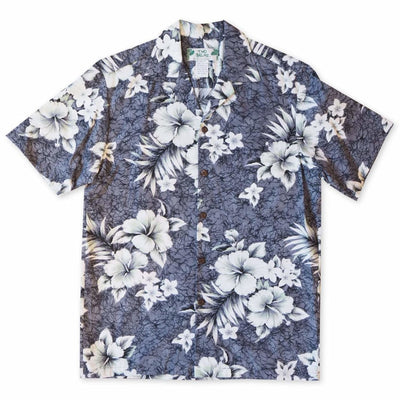 Flower Power Grey Hawaiian Cotton Shirt - s / Grey - Men's Shirts