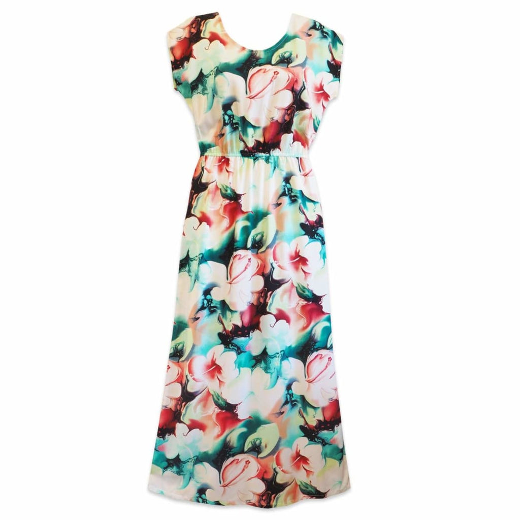 Flower Splash Red Long Hawaiian Naomi Dress - Womens Dress
