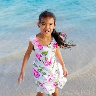 Garden White Hawaiian Girl Rayon Dress - Girl's Hawaiian Dresses