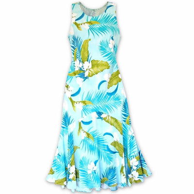 Ginger Breeze Aqua Lehua Hawaiian Dress - Womens Dress