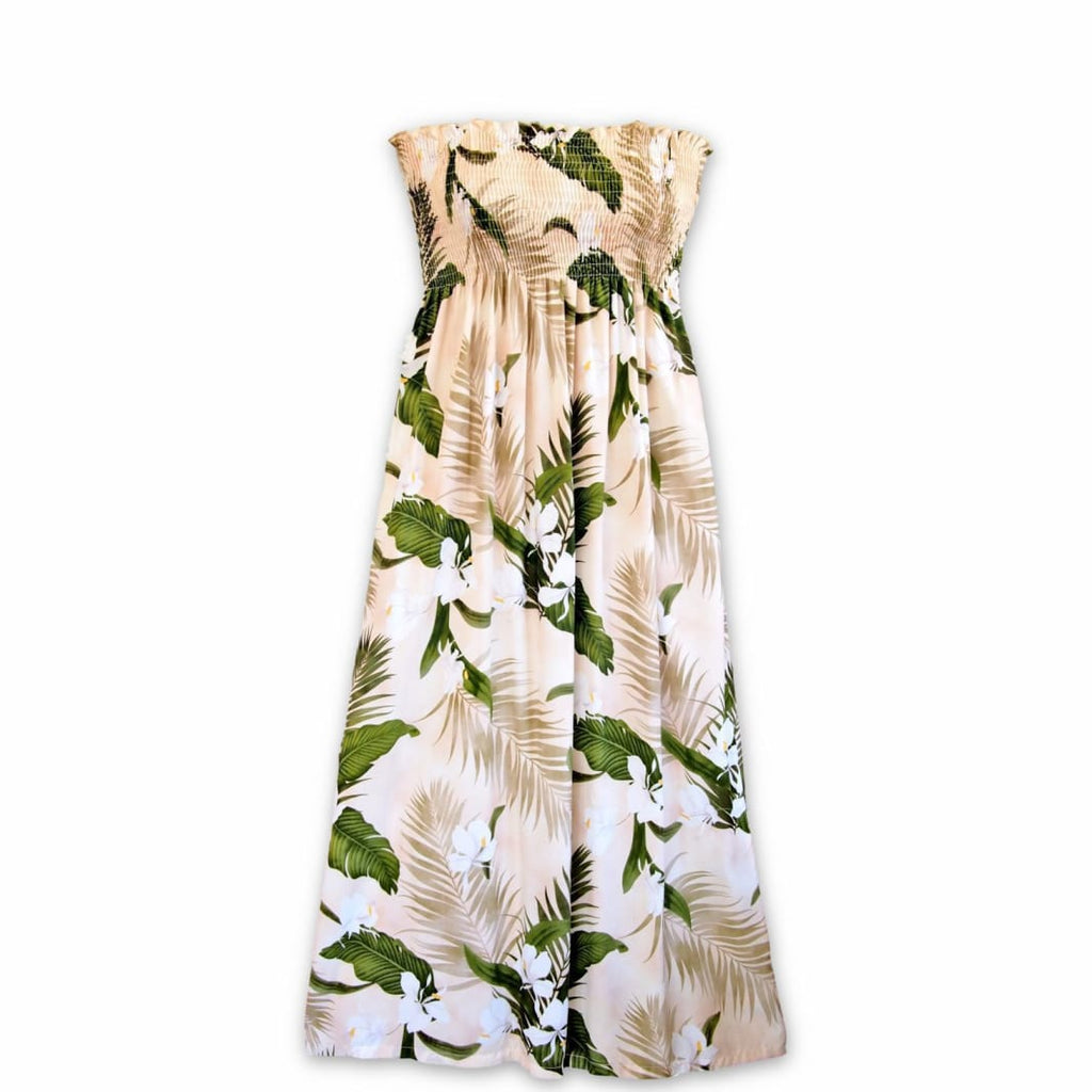 Ginger Breeze Cream Maxi Hawaiian Dress - One Size / Cream - Womens Dress