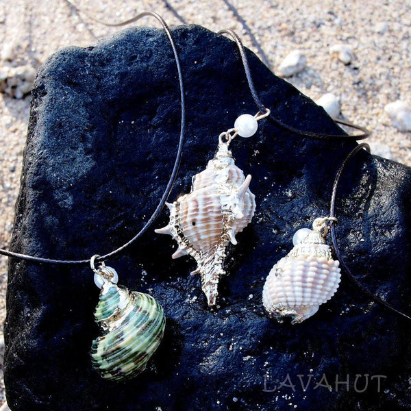 Green Turbo Seashell Pendant / Cord Necklace - Necklaces