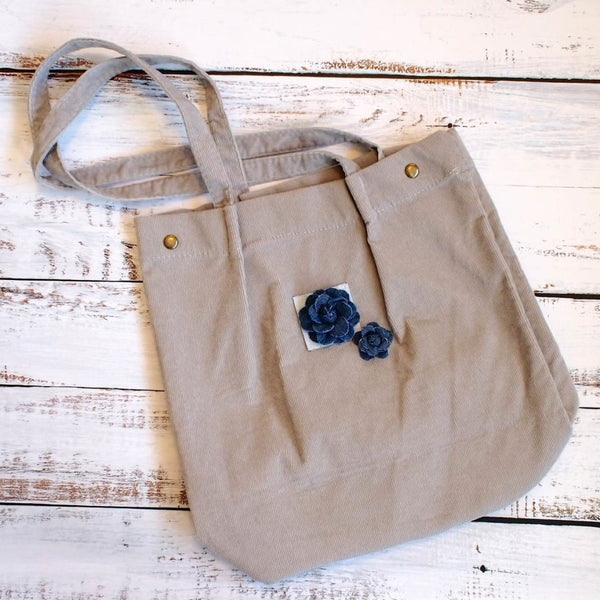 Grey Maile Denim Floral Corduroy Tote Bag - Grey - Hawaiian Bags