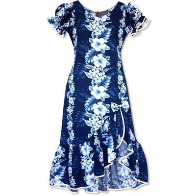 Hanalei Blue Makani Hawaiian Muumuu Dress - Womens Dress